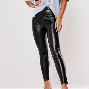 NWOT Faux Leather Pin Tuck Leggings